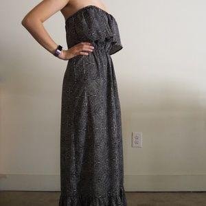 One Clothing Strapless Ruffle Maxi Dress
